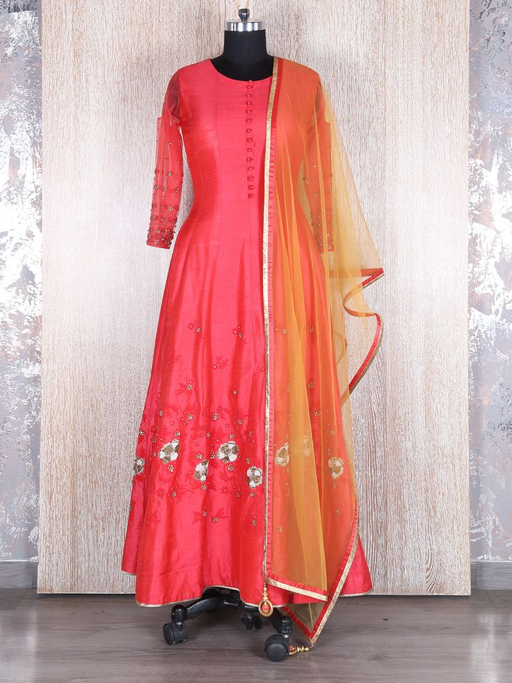 Tomato Red Dressy Long Anarkali Suit