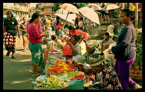 Pasar Badung is the biggest traditional market in Bali, located in the center of Denpasar. It is open 24 hours.