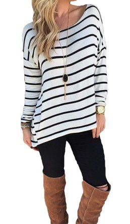 Halife Women 's Black and White Striped Shirt Tops Long Sleeve Blouse