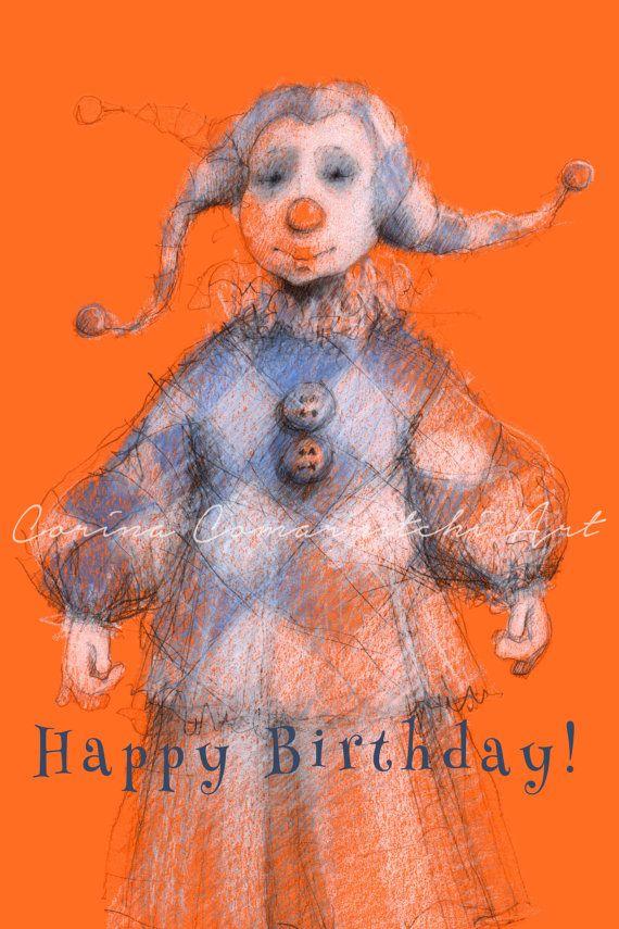 Printable Kids Whimsy Art Original Harlequin Clown Nursery