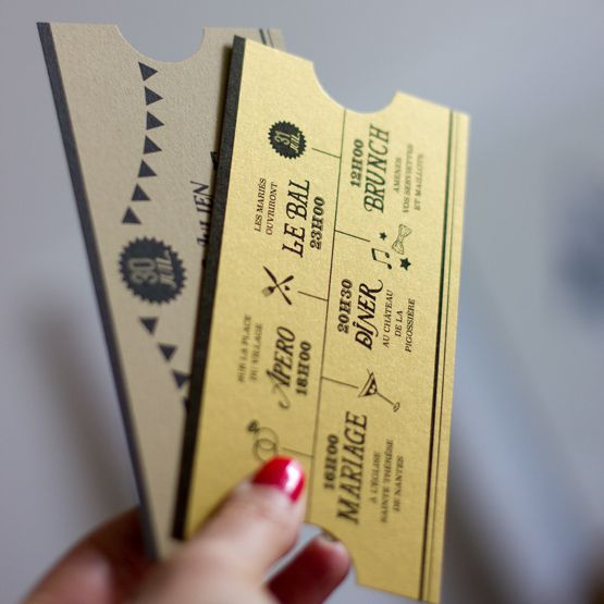 Programme Mariage ©MonkeyChoo...Ticket d'or ou Papier Kraft