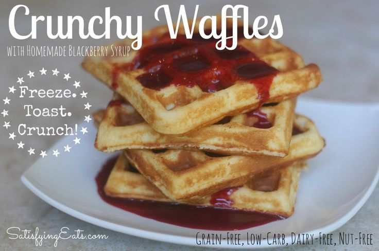 Crunchy Waffles | Grain-Free & Low-Carb with Dairy & Nut-Free Options | The waffles take minutes to prepare and freeze well. Pop a frozen waffle in the toaster for an quick breakfast. | www.satisfyingeats.com