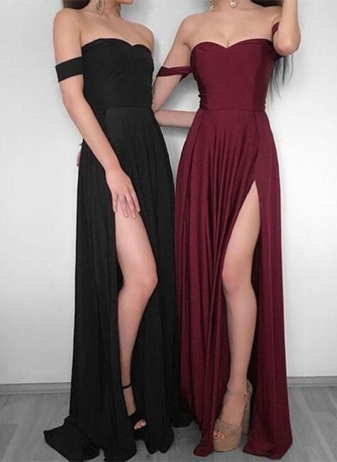 Simple Prom Dress,Off Shoulder Prom Dress,chiffon long prom dress, burgundy evening dress,Formal Dress