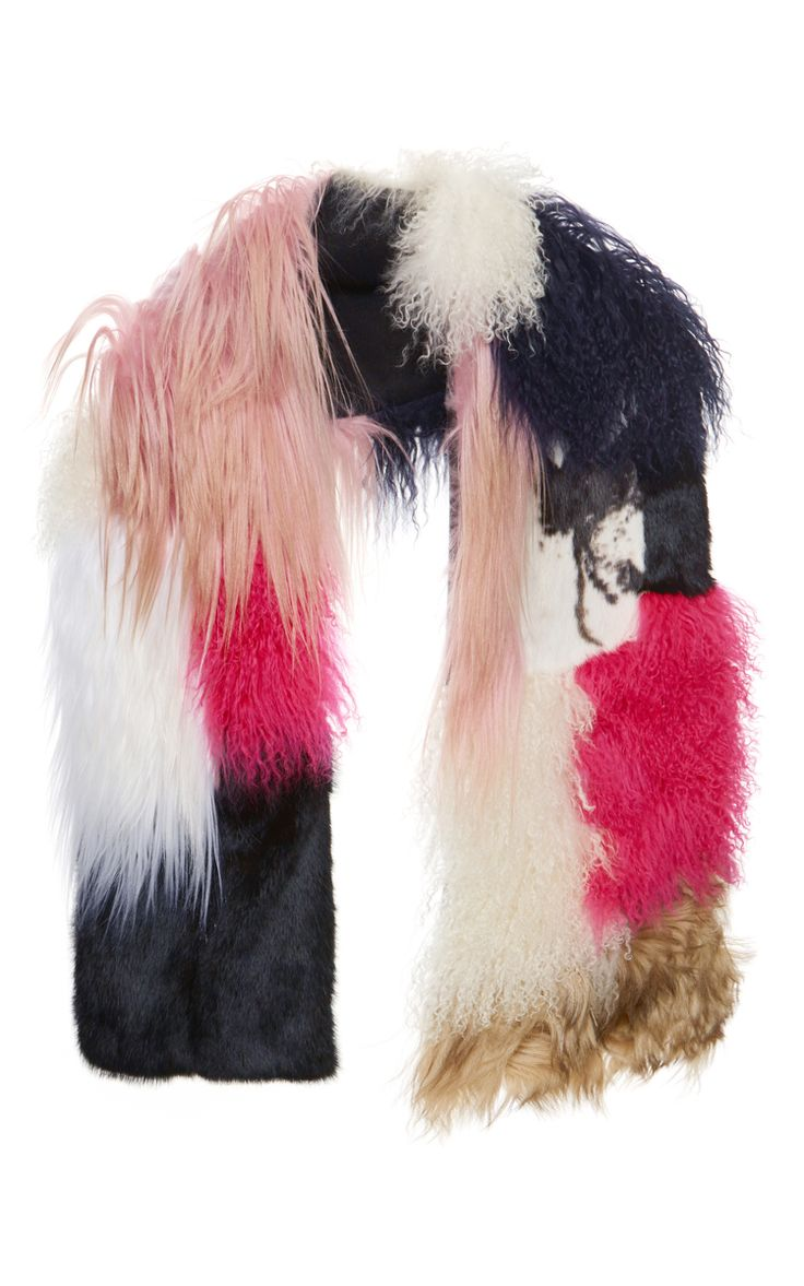 Patchwork Fur Scarf In Pink by MSGM (=)