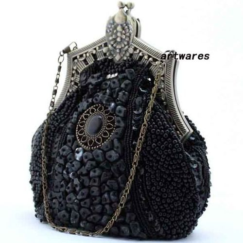 Unique Black Beaded Victorian Gothic Fashion Evening Prom Clutch Purse SKU-1110130