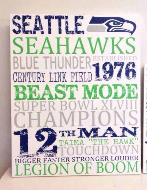 Seattle Seahawks Wood Sign 11 X 14 by MaeWestdsgn on Etsy