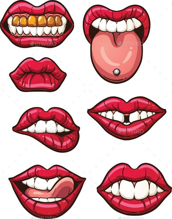 Cartoon Lips By Memoangeles Graphicriver Lips Illustration
