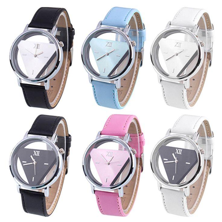 Armbanduhr Dreieck Damen Mode Glas Quarz Analog Uhr Herren Kunstleder Neu