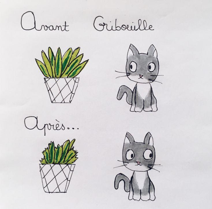 Les plantes avec Gribouille  #BD #CHAT #illustration #dessin  #blog