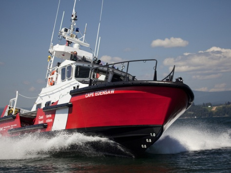 A 47-Ft Lifeboat of the Canadian Coast Guard Plies the Ocean Waters Photograph Pete Ryan