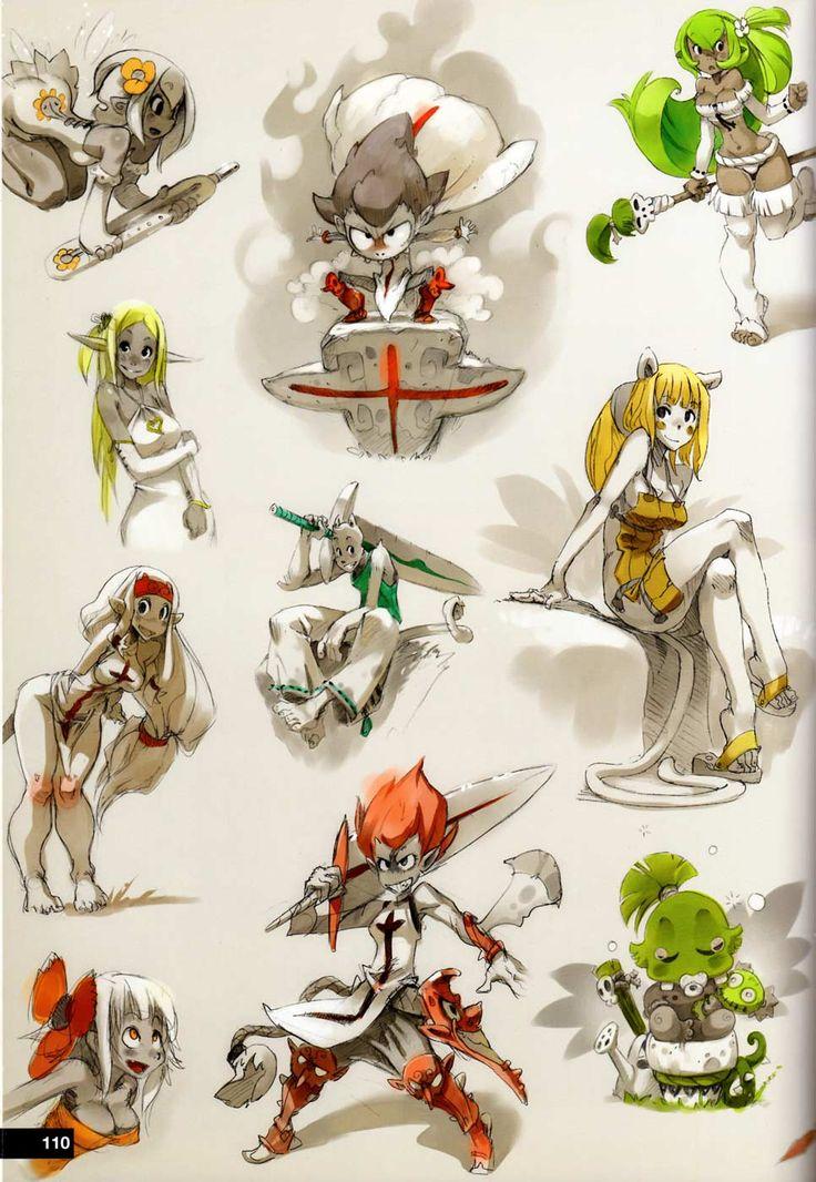 Croquis de recherche (art book Xa Colors sur Wakfu et Dofus)