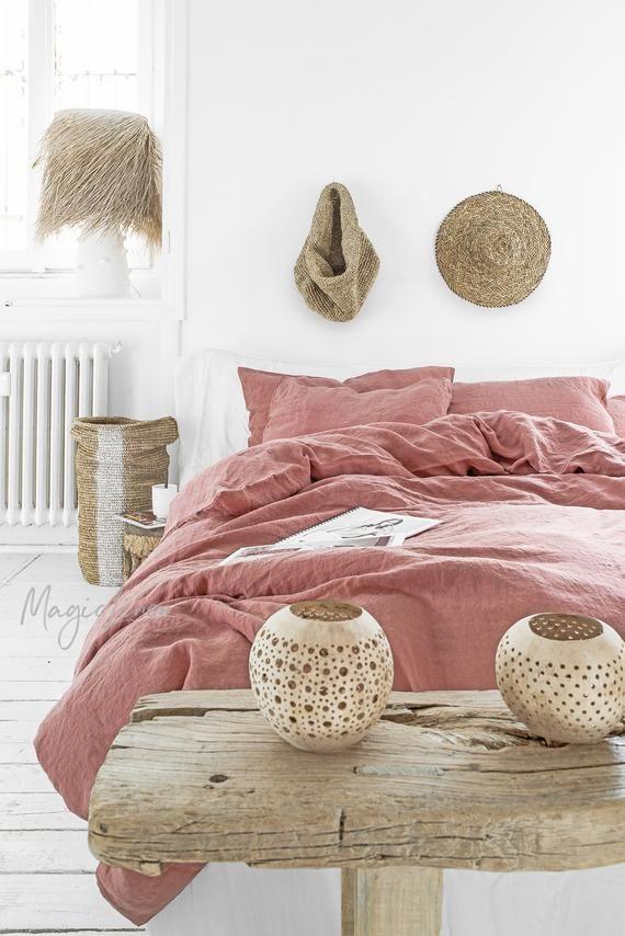 3 Piece Linen Bedding Set In Rust Pink King Queen Duvet Cover Set Bed Linen Sets Bed Linens Luxury Bed Linen Design
