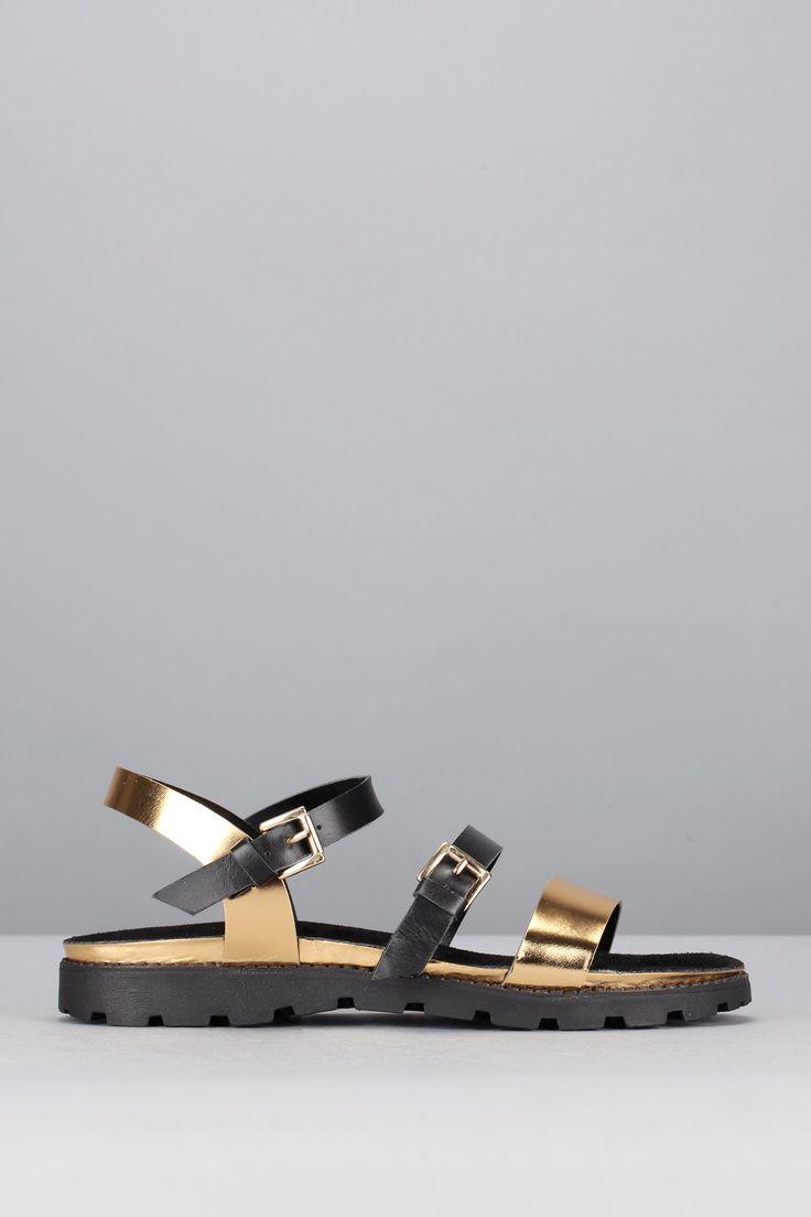 Sandales dorées et noires Rio