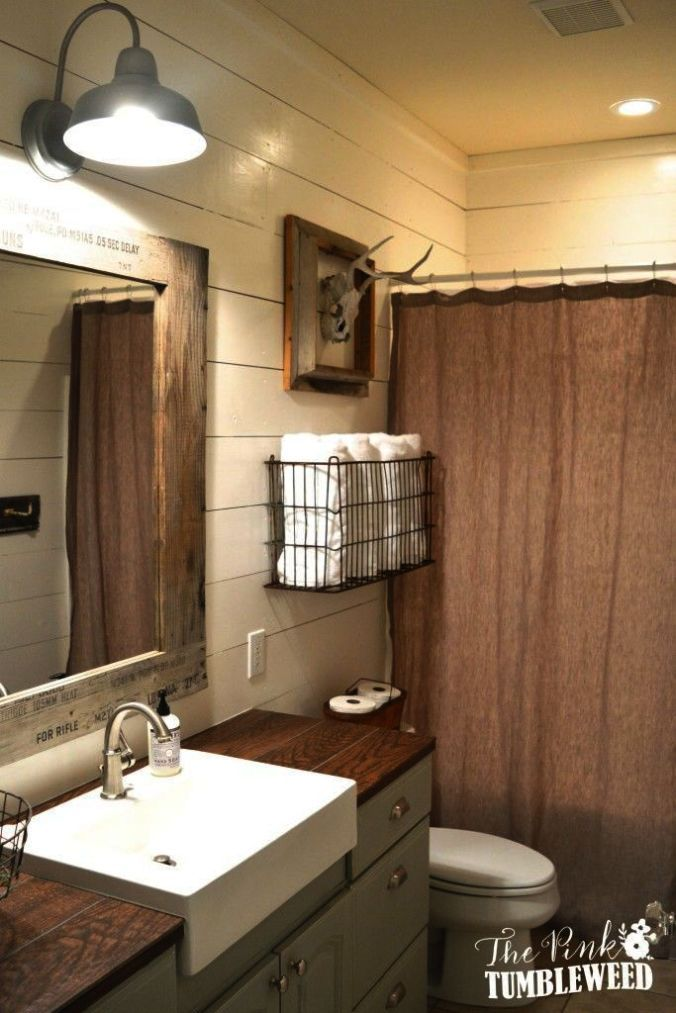 Check It Out Country Bathrooms Pictures Pinterest Rustic Bathroom Makeover Bathroom Farmhouse Style Bathroom Remodel Master