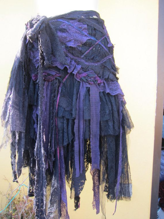 Vintage inspired fantasy lace gothic bohemian gypsy skirt