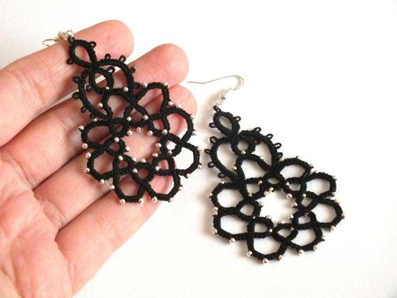 Drop Tatted Lace Earrings Black Tatted Earrings with by Hermitinas