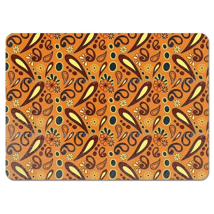 Uneekee Beebob Paisley Orange Placemats (Set of 4) (Beebob Paisley Orange Placemat)