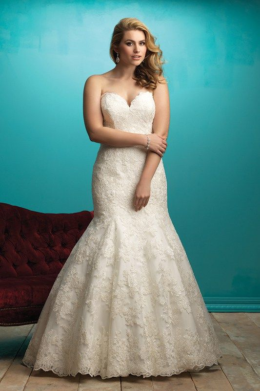 W360 Allure Women Bridal Gown - Multitextured lace composes this strapless bridal gown's dramatic train.