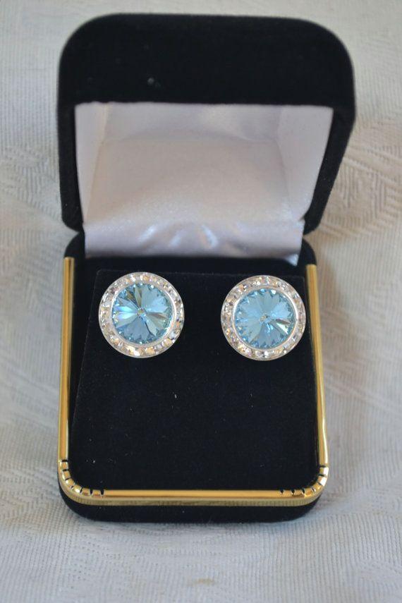 Swarovski Aquamarine crystal earrings 16mm by CreativityAtPlay, $18.00