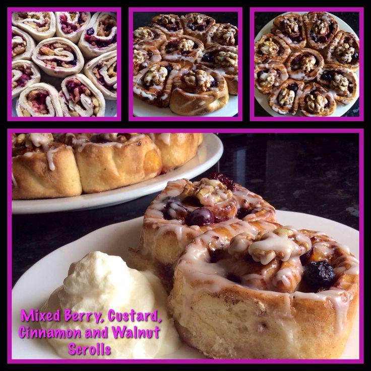 Mixed Berry, Custard, Cinnamon and Walnut Scrolls