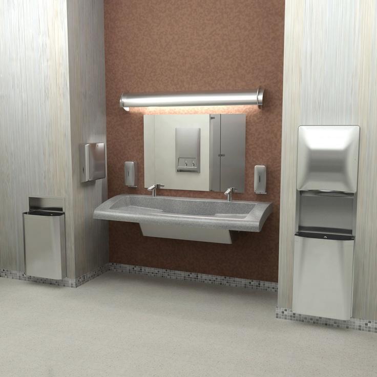 verge lavatory system diplomat accessories bring seamless elegance to this restroom - Bradley Bathroom Accessories