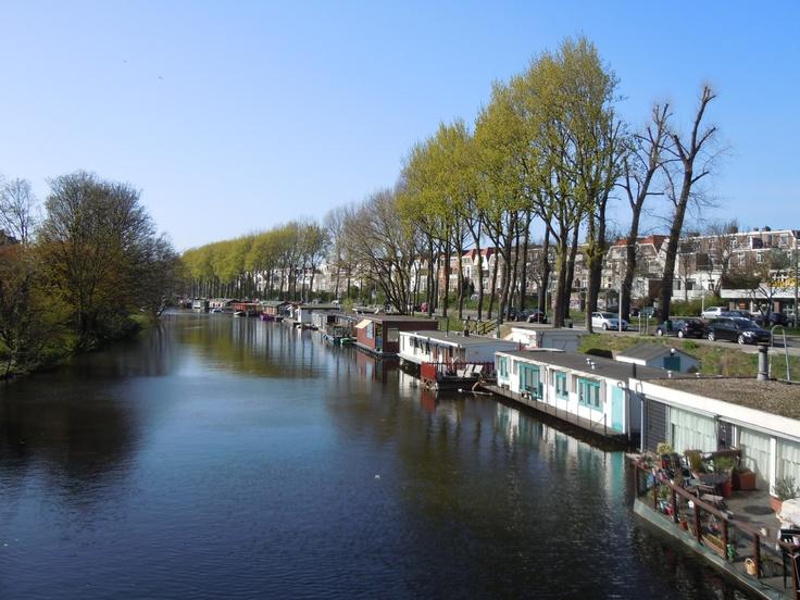 House boats, from the bridge on Laan van Meerdervoort, The Hague, Netherlands, April 2011