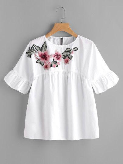 Top con adornos de bordado de flor con volantes -Spanish SheIn(Sheinside) Sitio Móvil