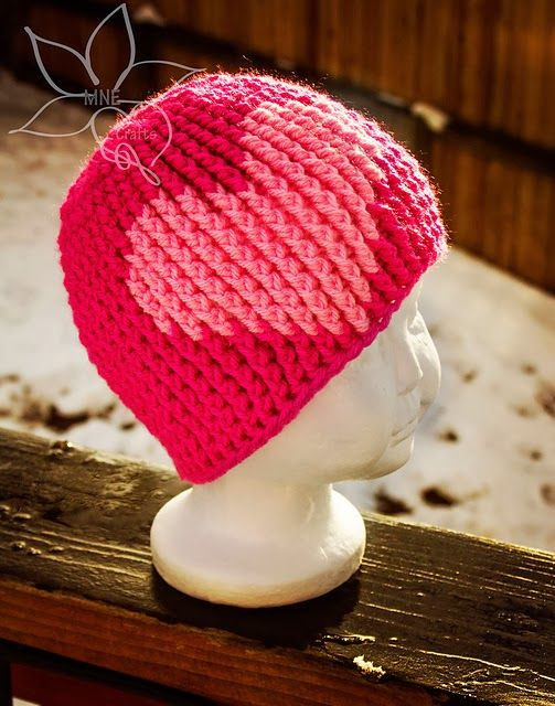 free crochet pattern cable stitch heart beanie