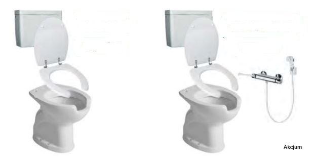 Toaleta dla niepełnosprawnych typu WC/BIDET, która łączy w sobie funkcje standardowego wc jak i bidetu. Dostosowana kształtem i wysokością dla osób niepełnosprawnych poruszających sie na wózkach