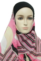 ONE PIECE HIJAB CONSISTS OF FULL UNDERSCARF WITH ATTACHED SCARF   UNDERSCARF IS OFF WHITE STRETCH POLY BLEND   ATTACHED SCARF IS PINK, WHITE AND TAN WITH A RETRO PATTERN   SCARF MEASURES 20 INCHES WIDE BY 60 INCHES LONG AND HAS A WONDERFUL DRAPE   SCARF IS ATTACHED TO UNDERSCARF AT THE TOP ALONG THE PEAK OF THE UNDERSCARF FROM EAR TO EAR NOT UNDER THE CHIN   EXCLUSIVELY DESIGNED AND MANUFACTURED FOR UNIQUE HIJABS