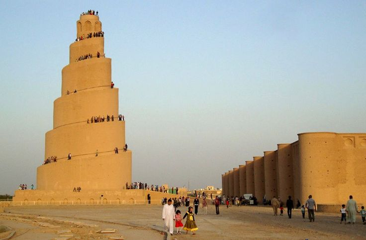 https://www.facebook.com/pages/Islamska-arhitektura-i-umjetnost/1403357959880645  Minaret of the Great Mosque of Samarra. 9th-century mosque located in Samarra, Iraq. The mosque was commissioned in 848 and completed in 851 by the Abbasid caliph Al-Mutawakkil who reigned (in Samarra) from 847 until 861.