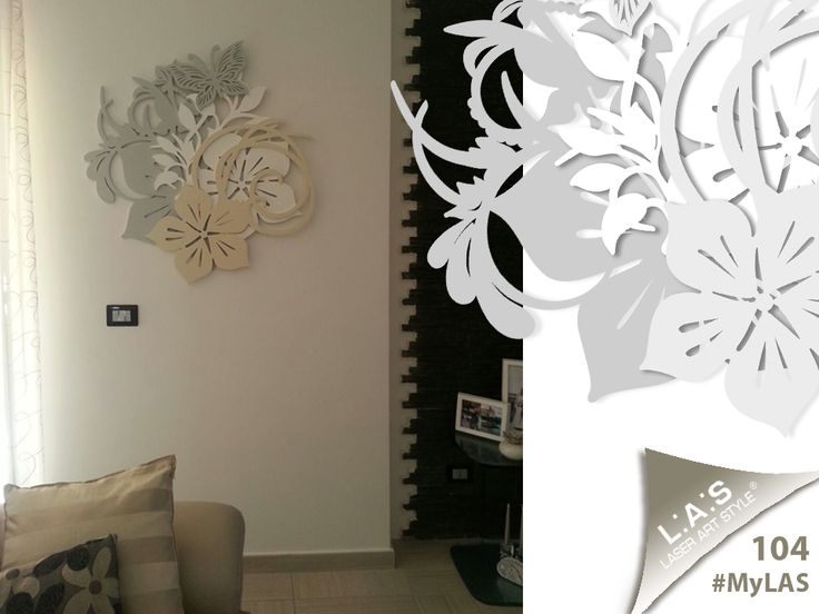 #MyLAS Welcome to Rocco e Anna Pia's #home! #livingroom #design #homeinspiration #interiors #elegance http://www.laserartstyle.it/home/gallery/my-las/ FLORAL WALL SCULPTURES | CODE: SI-200L | SIZE: 90x90 cm | COLOUR: grey green - white - camel