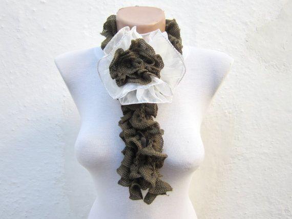 Removeable Brooch Pin Crochet Scarf Fall Fashion by scarfnurlu