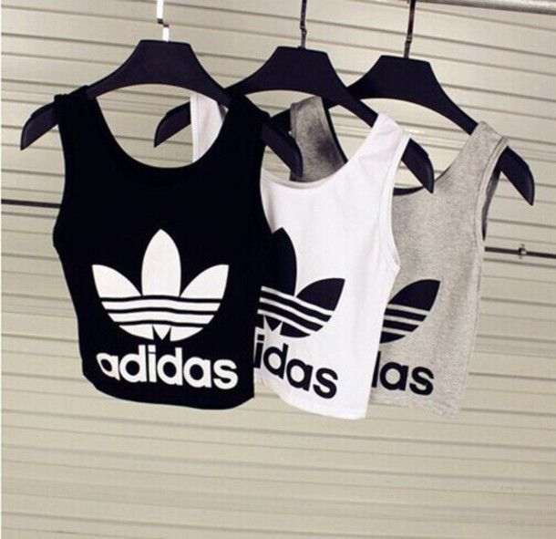 Tank top: adidas sports top adidas wings adidas sports bra crop tops blouse adidas crop top top