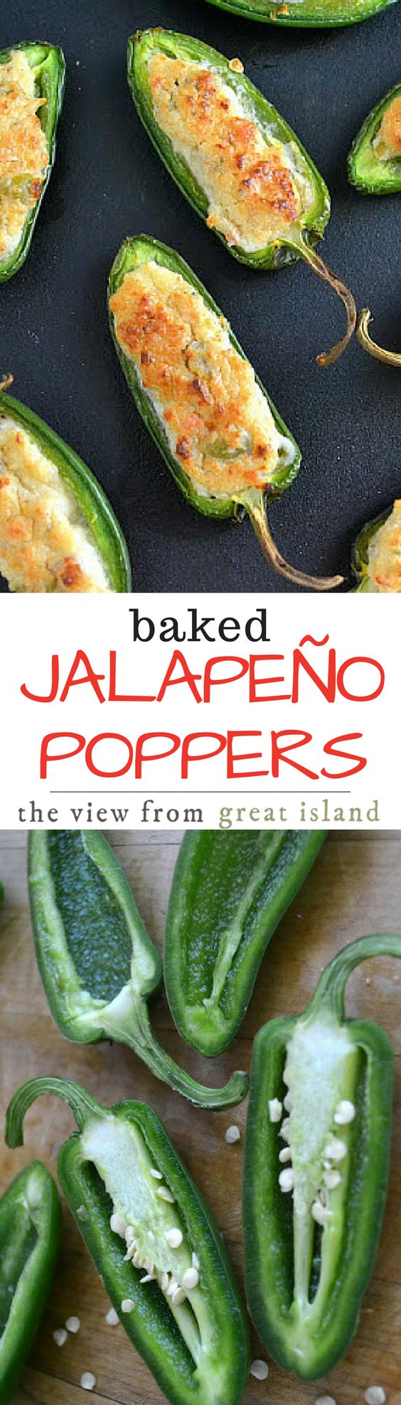 Baked Jalapeno Poppers are a healthier version of the decadent fried appetizer ~ these little guys are just as addictive as the originals, without all the guilt!