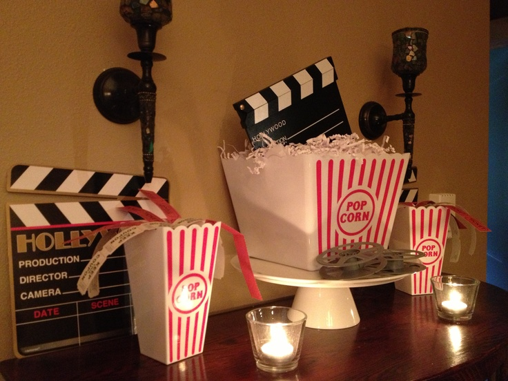Decorations for Movie Night Party. Mind you I do this with my kids, not actual guests.