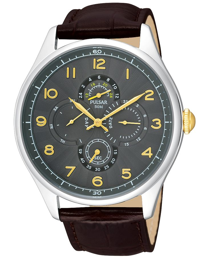 Pulsar Men's Brown Leather Strap Watch 44mm PW9011 - Men's Watches - Jewelry & Watches - Macy's
