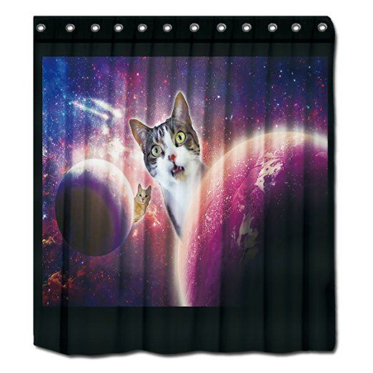 "YYT Custom Shower Curtains Space Cats Lol Funny Shower Curtain 72""X80"""