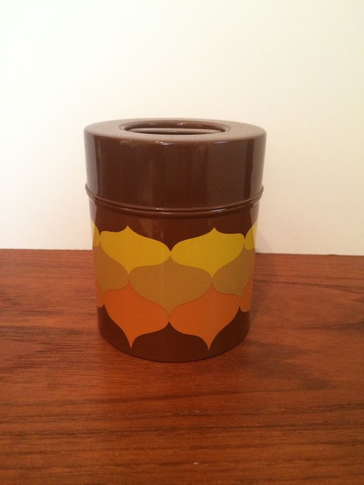 """Metal Cannister w MCM Graphic Design 3.75"""" diameter x 4 5/8"""" tall"""