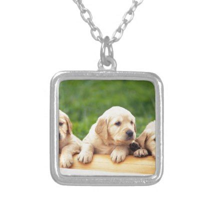 #Cute Labrador Retrievers Silver Plated Necklace - #labrador #retriever #puppy #labradors #dog #dogs #pet #pets