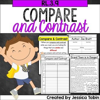 Compare and Contrast RL3.9Third Grade Reading:  Compare and Contrast ResourceThis pack is packed full of ideas and resources to use while you are teaching the CCSS standard RL 3.9. If you are not teaching Common Core, then the pack is still valuable to use when teachings students how to compare and contrast fictional texts, specifically comparing plots, settings, and themes from stories by the same author.