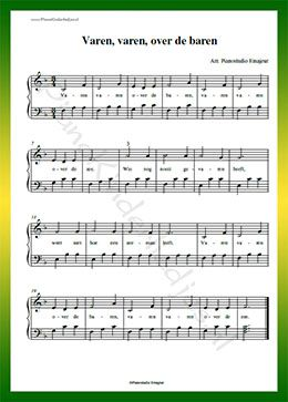 Varen varen over de baren  - Gratis bladmuziek van kinderliedjes in eenvoudige zetting voor piano. Piano leren spelen met bekende liedjes.