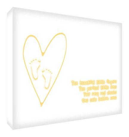 Feel Good Art A4 Deep Box Canvas Nursery Wall Art Ten Fingers and Toes (30 x 20 x 4 cm, Yellow)