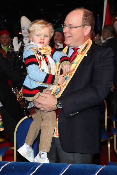 Prince Jacques of Monaco and Prince Albert II of Monaco attend the 42nd International Circus festival in Monte Carlo on January 21 2018 in Monaco...