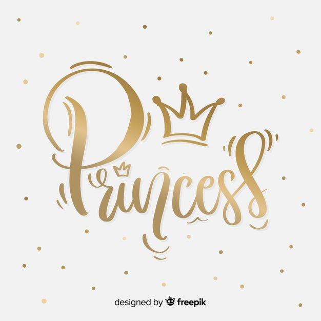 Fondo Lettering Princesa Dorado Vector Gratuito Cartas
