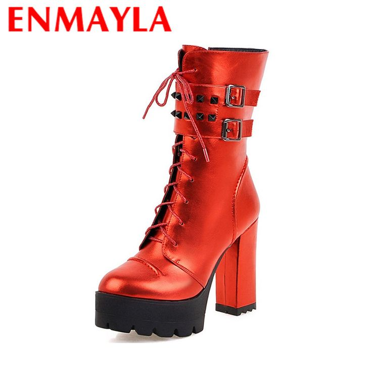 Find More Women's Boots Information about ENMAYLA Mid calf Boots for Women High Heels Round Toe Lace up Riding Boots Rivets Charms Shoes Woman Platform Shoes Winter Boots,High Quality riding boots,China winter boots Suppliers, Cheap boots for woman from YQZ on Aliexpress.com