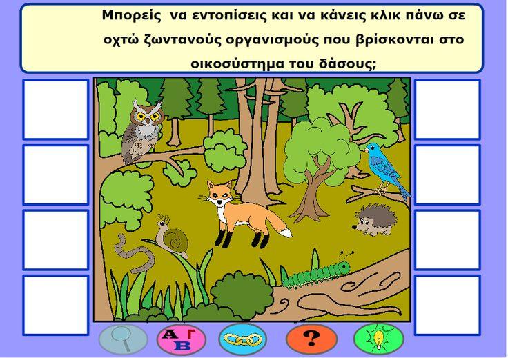 Παιχνίδι για τα ζώα στο δάσος. Οι μαθητές εντοπίζουν 8 ζωντανούς οργανισμούς στην εικόνα, διαβάζουν περισσότερες πληροφορίες γι αυτούς και στη συνέχεια φτιάχνουν τροφικά πλέγματα. Θα το βρείτε στην σελίδα με τα παιχνίδια στο http://www.cyprusbiodiversityforkids.com/