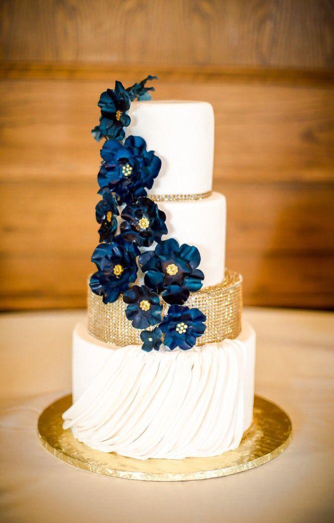 Navy And Gold Wedding Cake Wedding Cake Blue Gold Wedding Cake