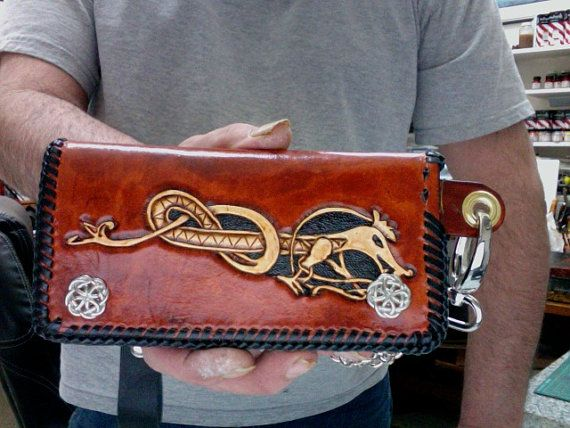 Wallet / Leather / Biker / Trucker / Hand Carved and Tooled / Viking / Celtic / Tribal / Leather Wallet