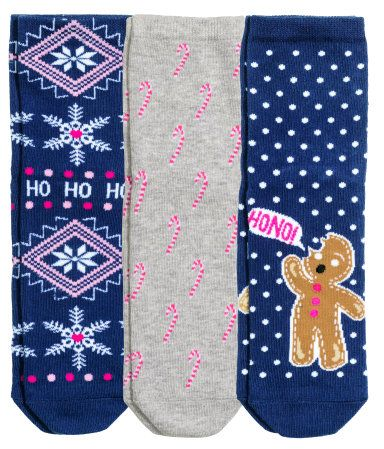 3-pack jacquard-knit socks with holiday patterns. | H&M Gifts